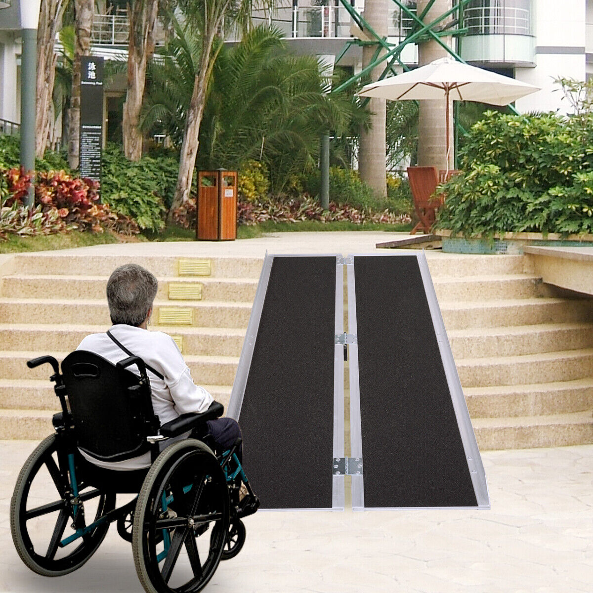 7' ft Aluminum Folding Wheelchair Scooter Mobility Ramp Port