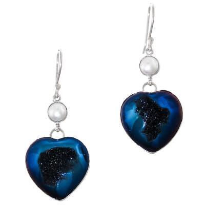 1 0.8cm Herz Kobaltblau Titan Druzy Drusy Biwa Perle 925 Silber Ohrringe ()