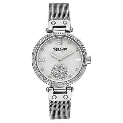 Anne Klein NY 12/2309SVSV Women's 35mm Silver-Tone Crystal Accent Watch NWOT
