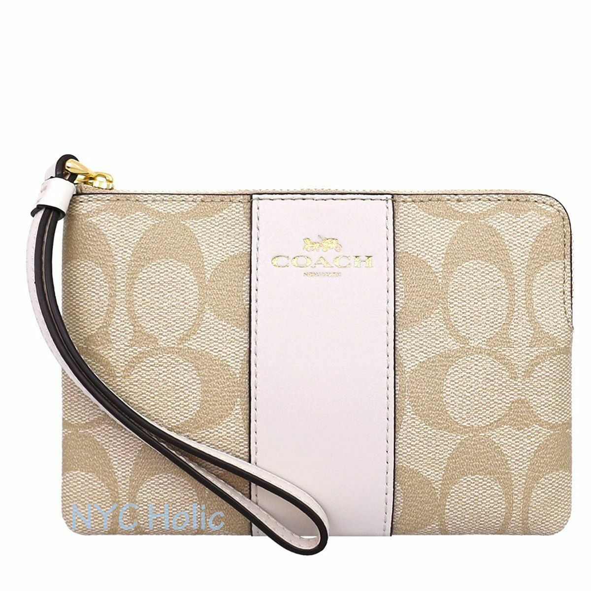 New Coach F58032 F58035 Corner Zip Wristlet With Gift Box New With Tags Light Khaki Chalk