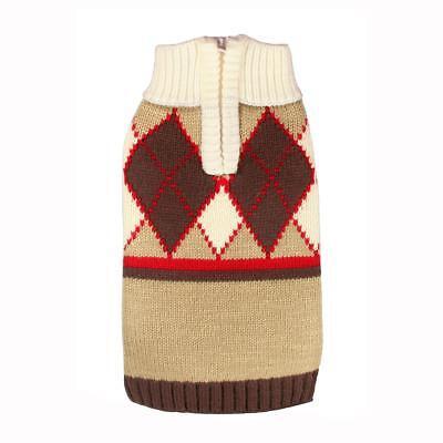 NEW Tan Brown Red Argyle Dog Sweater Pet Hip Doggie Clothing (Choose Size) (Red Argyle Dog Sweater)