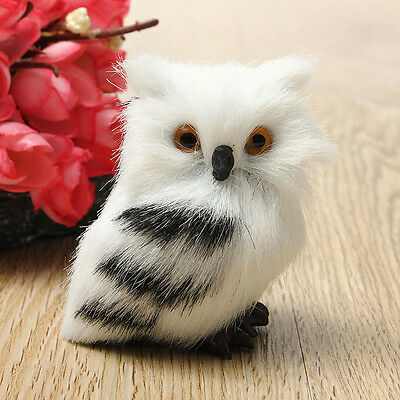 2PCS Owl White Black Furry Ornament Decor Adornment Simulation Gifts US - Owl Ornament