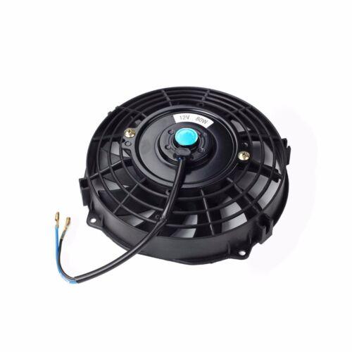 "7/""ELECTRIC RADIATOR FAN HIGH 600+CFM THERMOSTAT WIRING SWITCH RELAY KIT BLACK"