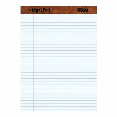 Tops Brand Legal Rule Writing Pads 8-12 X 11-34 White. 50 Sheets 12 Pack
