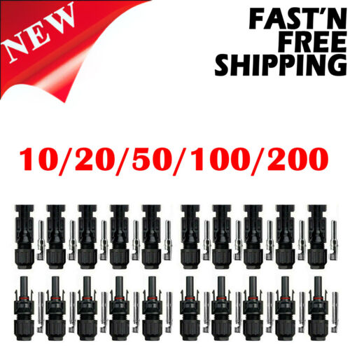 10/20/50/100/200 Pairs Male Female Solar Cable Connectors for DIY Solar Panel