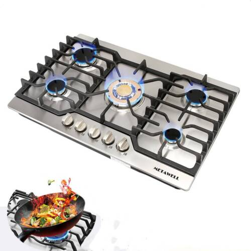 "Cook Top 30"" Stainless Steel Built-in 5 Burners Stove LPG/NG"