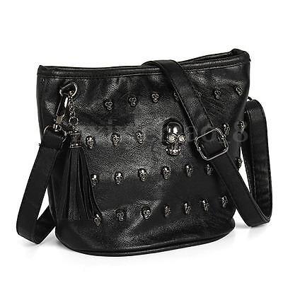 Women Leather Messenger Shoulder Handbag Tote Bag Satchel Crossbody Purse Black
