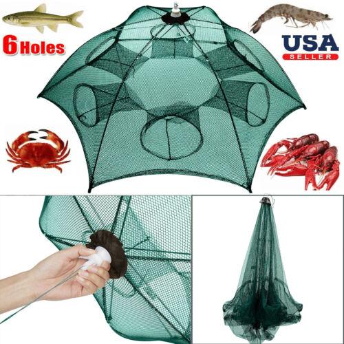 Fishing Bait Trap Crab Net Crawdad Shrimp Cast Dip Cage Fish Minnow Foldable USA