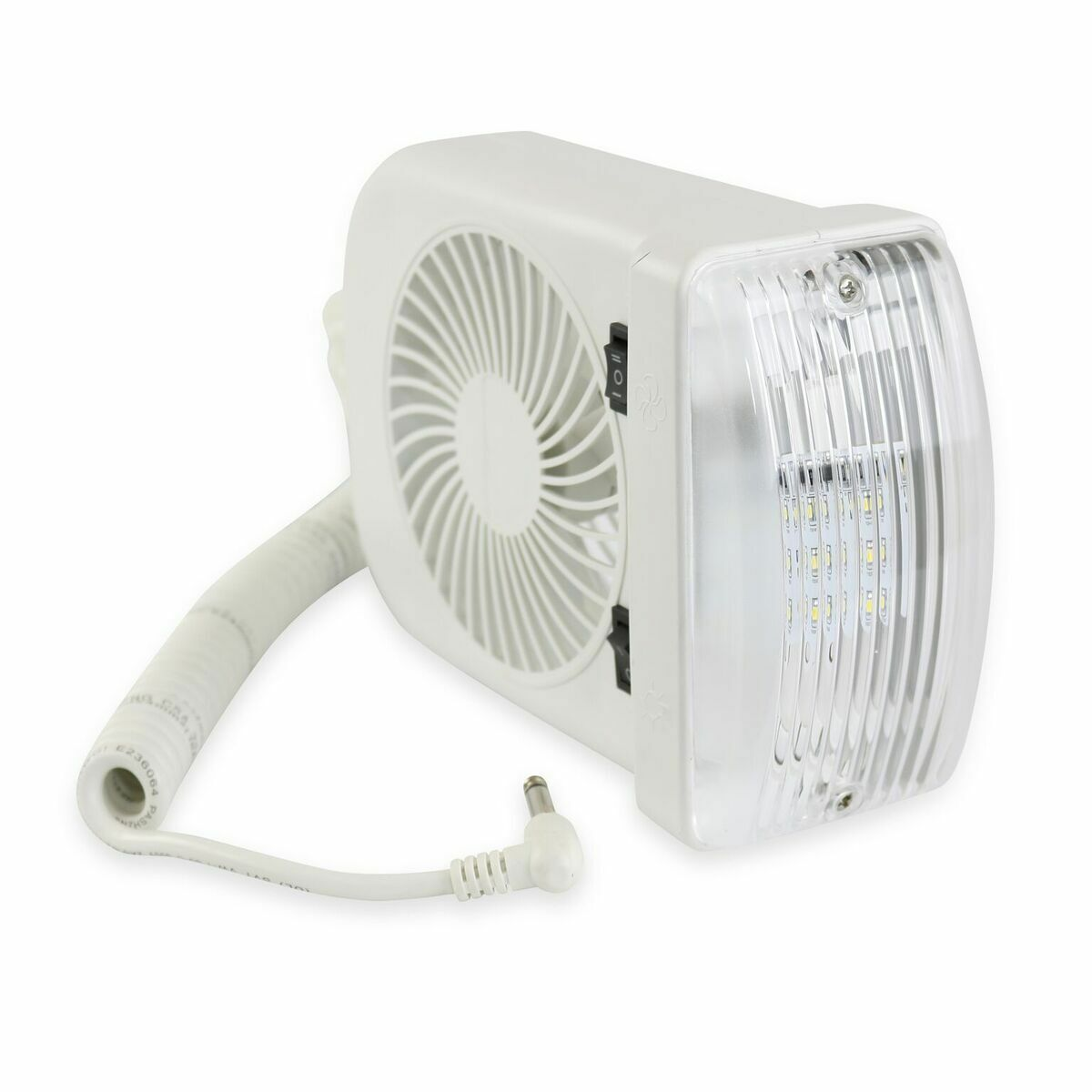 Leisure LED RV Fan light combo with 12v mounting white camper trailer