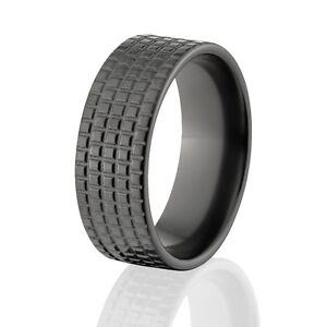 Tire Wedding Rings >> Custom-Black-Zirconium-Tire-Tread-Rings-Rugged-Mens-Rings