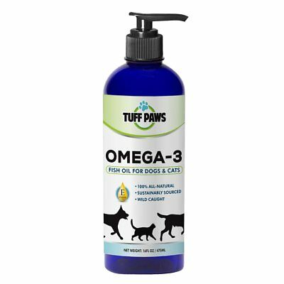 PREMIUM OMEGA 3 Fish Oil Liquid Supplement with VITAMIN E for Dogs  Cats By Tuff