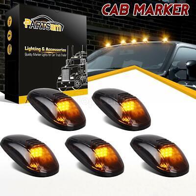 5x Amber LED Cab Roof Marker Lights Smoke Cover For Dodge RAM 2500 3500 99-02 Hummer Roof Lights
