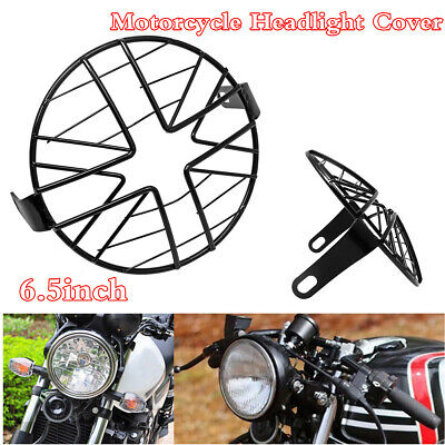 UNIVERSAL 65INCH BLACK METAL MOTORCYCLE HEADLIGHT COVER GUARD PROTECT