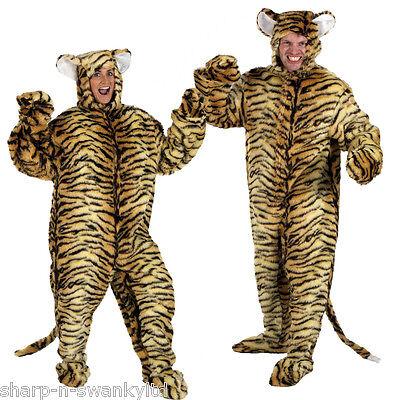 Deluxe Ladies Mens Fur Tiger Zoo Animal Halloween Fancy Dress Costume Outfit](Mens Tiger Costume Halloween)
