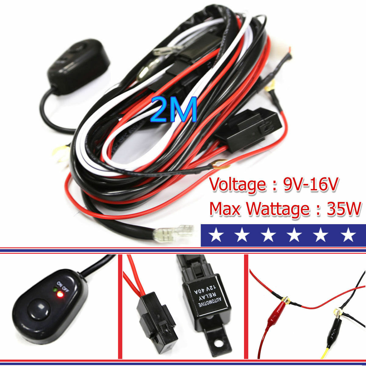 Wiring Harness Kit Line 40A 12V Switch Relay Harness For 2 ... on wiring diagram, electric motor, electrical conduit, electric power distribution, electrical engineering, alternating current, power cord, distribution board, circuit breaker, power cable, earthing system, knob-and-tube wiring, ground and neutral, junction box, three-phase electric power, extension cord, national electrical code,