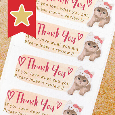 Thank You Labels Stickers For Online Shop Sellers 100ct - Cat W Hello Kitty Hat