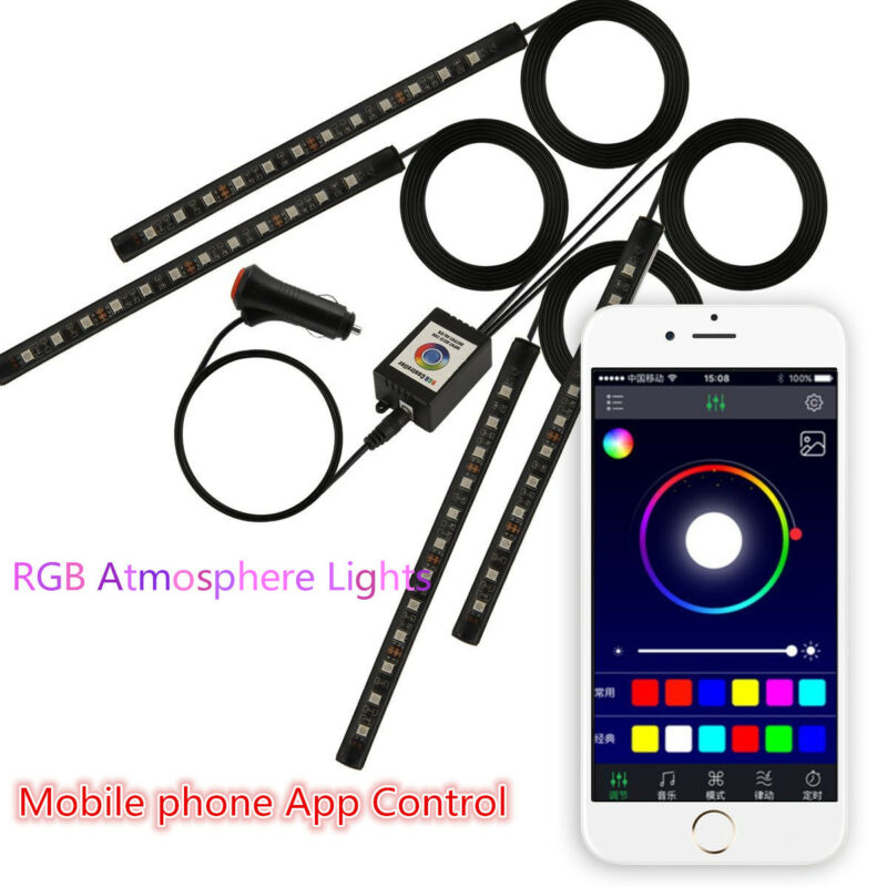 4x 9 LED Car Atmosphere RGB Phone App Music Control Strip Lights Interior Kit