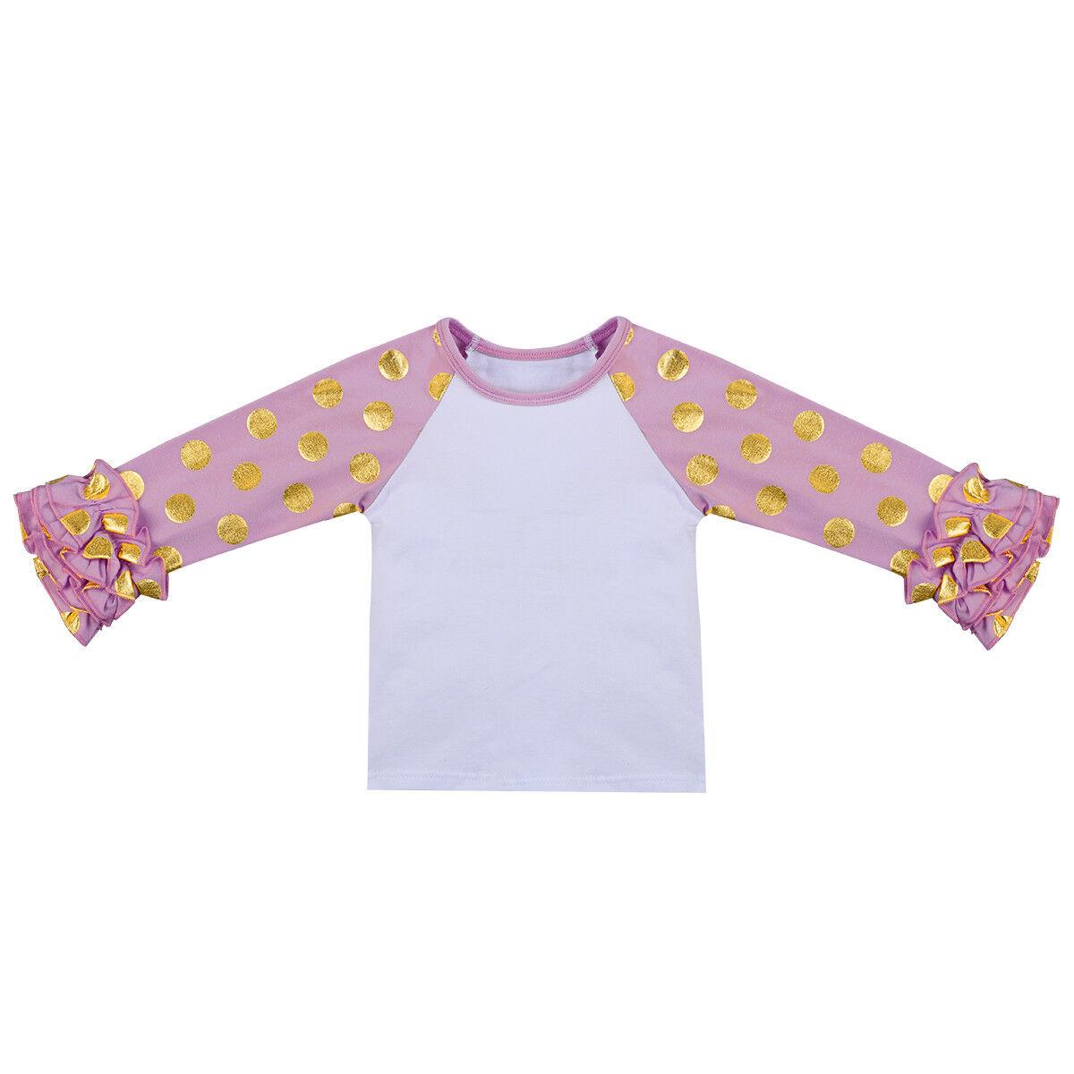 1b93612f7f4 Toddler Kids Baby Girls Icing Raglan Ruffle Dot Shirt Baseball Blank ...