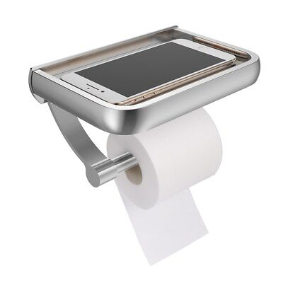Wall Mount Toilet Paper Holder Toilet Roll Dispenser With Phone Storage Shelf