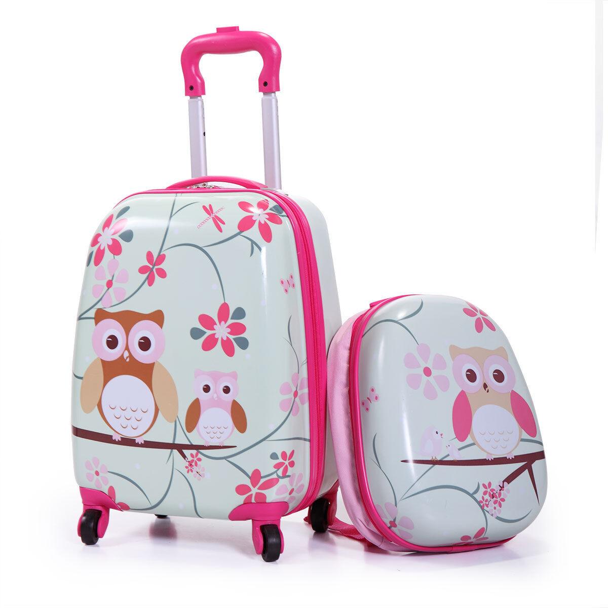 """2Pc  Kids Carry On Luggage Set Hard Upright Side Hard Shell Suitcase12"""" 16"""""""