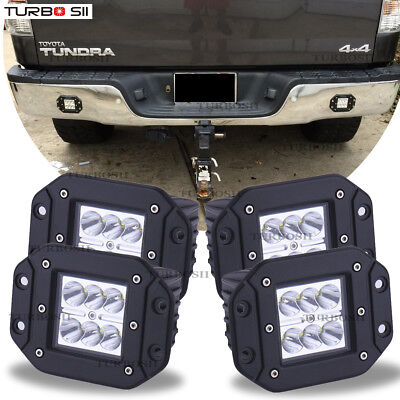 Toyota Tundra 4Runner Flush Mount Backup Reverse Rear+Front Bumper 4x Led Lights