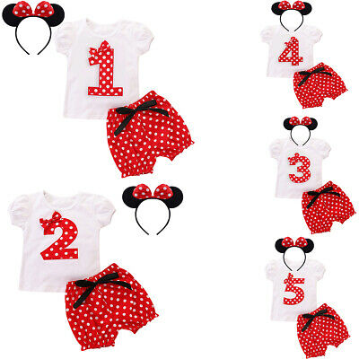 Toddler Girls 1st Birthday Party Outfits Cake Smash Clothes Minnie Mouse Costume