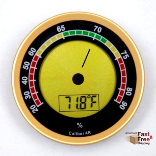 Western Humidor Caliber 4R Gold Digital Analog Hygrometer Se