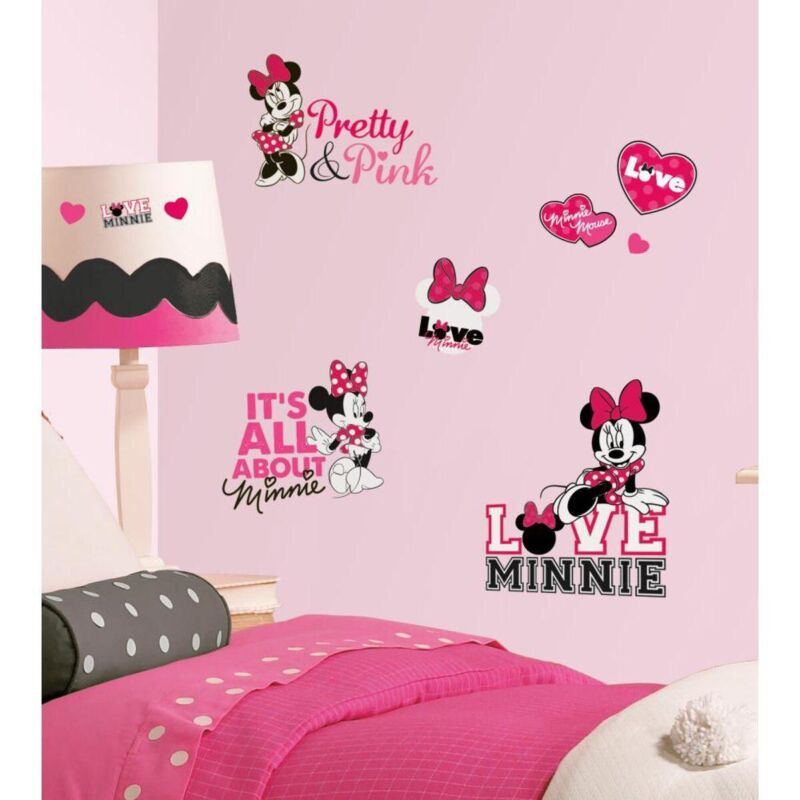 Details about New Disney MINNIE MOUSE LOVES PINK WALL DECALS Girls Bedroom  Wall Decor Stickers