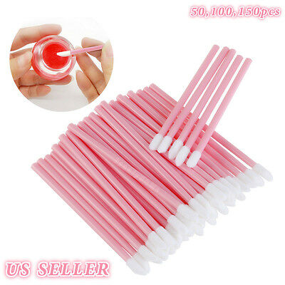 (50 100 150x Disposable Lip Brush Set Gloss Lipstick Wands Applicator Makeup Tool)