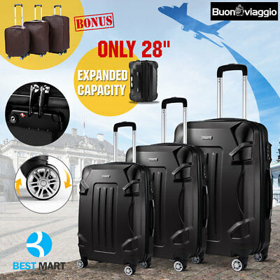 Black 3PCS ABS Luggage Set TSA Lock Travel Bag Trolley Spinner 4 Wheels Suitcase