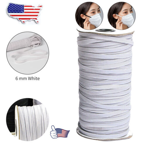 Clearance 20 Yards × 8-Cord// 6mm Flat Elastic White