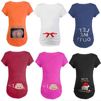 Christmas Maternity Baby Peeking T-shirt Funny Gift Pregnant Women Top Pregnancy
