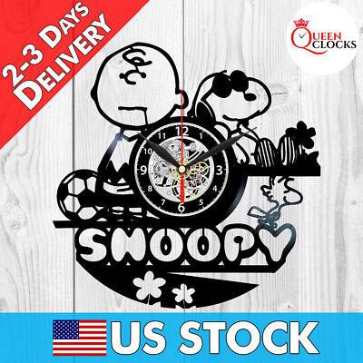 Snoopy Peanuts Cartoon Vinyl Record Wall Clock Baby Nursery Birthday Gifts Decor