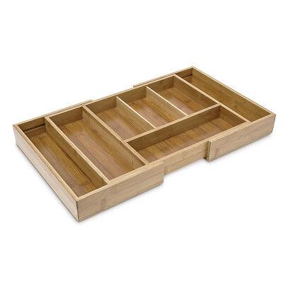 Besteckkasten Besteckeinsatz Bambus Besteckeinlage verstellbar 5-7 Fächer Holz