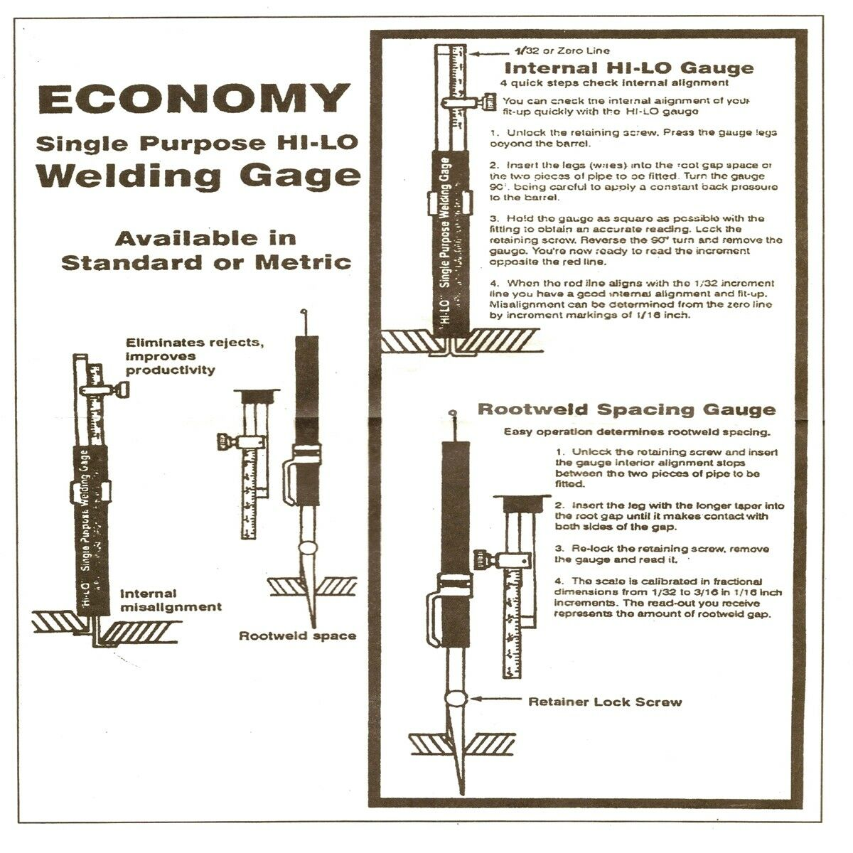 Welding Gauge Hi-Lo Single Purpose Gage Pipe Misalignment Inspection Test