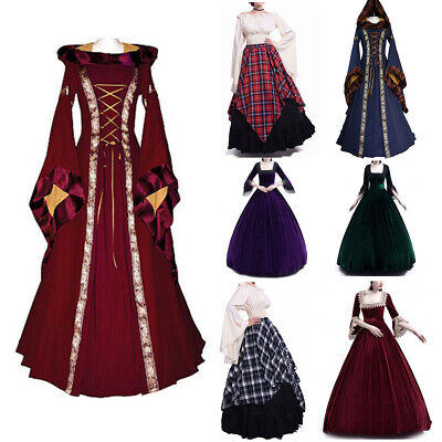 Costume Wench Victorian Renaissance Long Sleeve Dress Witch Medieval Cosplay - Victorian Witch Costume