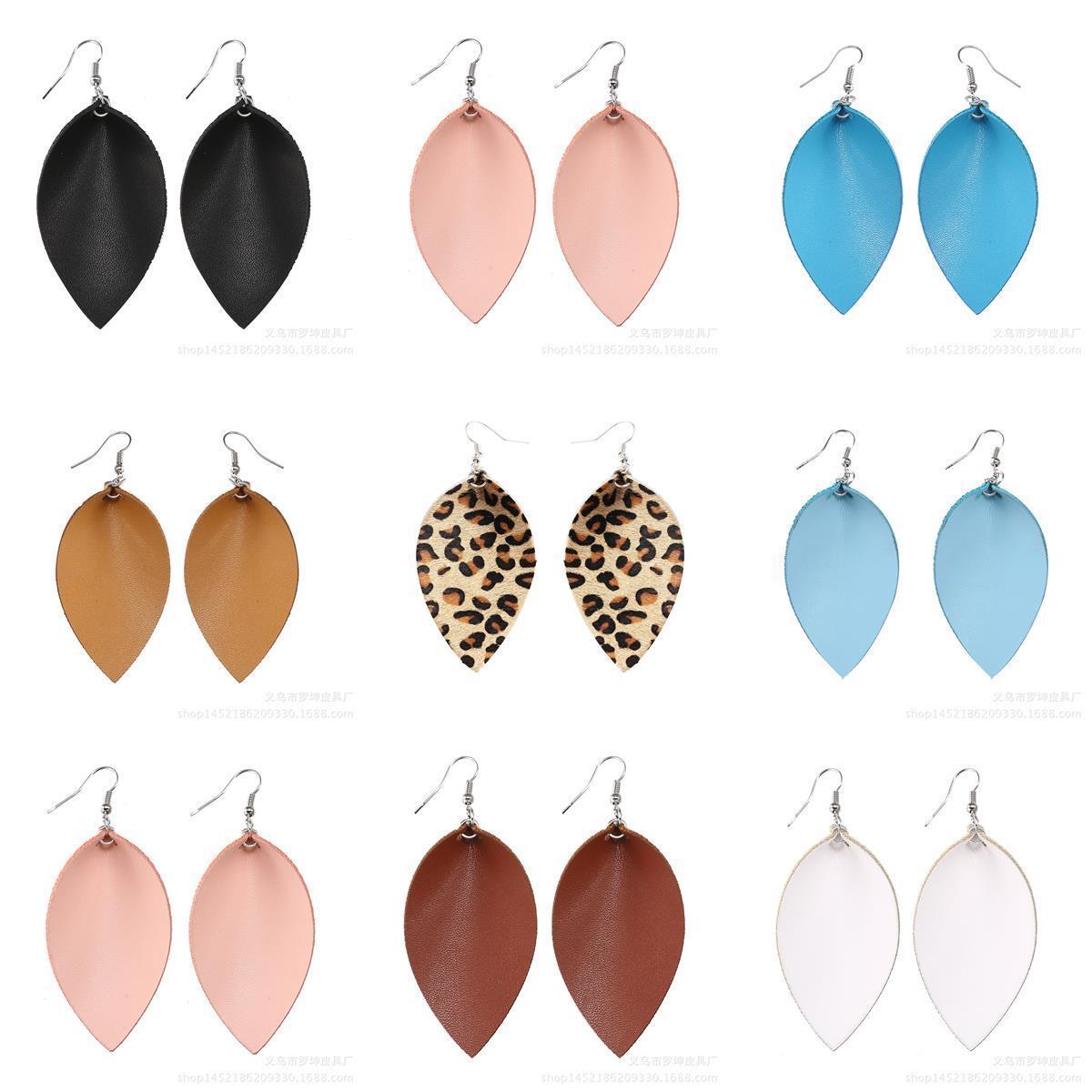 Women Bohemian Leaf Drop Dangle Genuine Leather Silver Hook