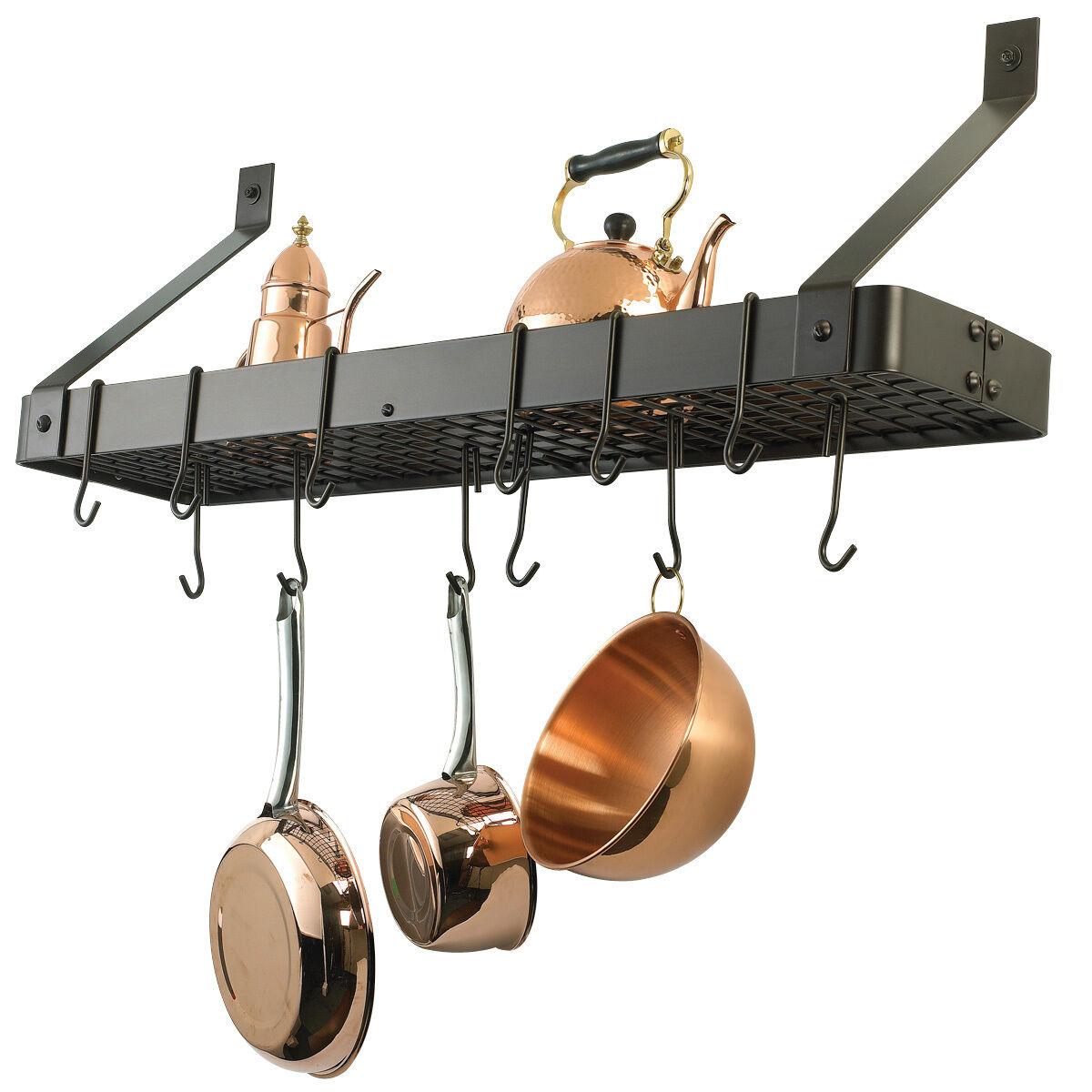 Oiled Bronze Over Stove Hanging Pot Rack Pan Storage Book sh
