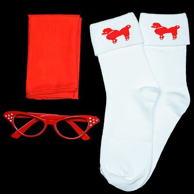 Ladies 50s Poodle Skirt/Sock Hop Acc. Lot - Socks, Glasses, Scarf _ RED
