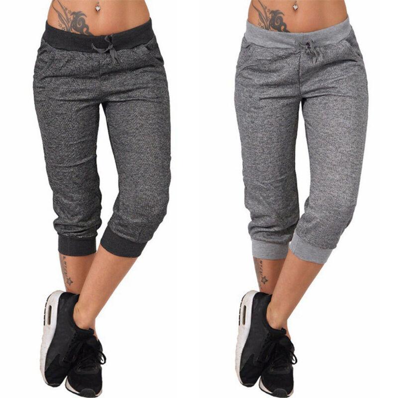 Womens Joggers Capri Bottoms Tracksuit Trousers Slacks Gym J