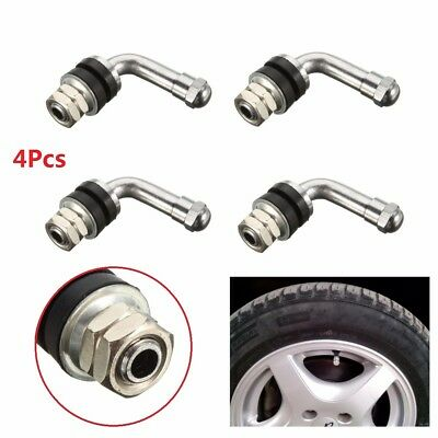 4X 90 DEGREE ALLOY WHEELS VALVES TYRE TIRE BOLT IN STEM CHROME TUBELESS & CAP US (Geo Prizm Valve Stem)