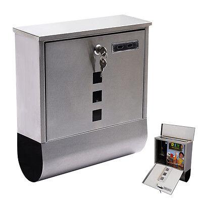 Wall Mount Mail Box Steel w/ Retrieval Door & 2 Keys & Newspaper Roll New