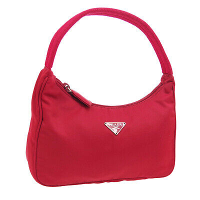 PRADA Logos Hand Bag Pouch #28 Purse Red Nylon Vintage Italy Authentic 00658