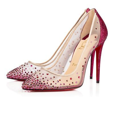 NB Christian Louboutin Follies Strass 100 Cassis Red Mesh Pigalle Heel Pump 41.5