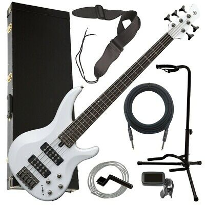 Yamaha TRBX305 5-String Electric Bass Guitar - White COMPLETE BASS BUNDLE