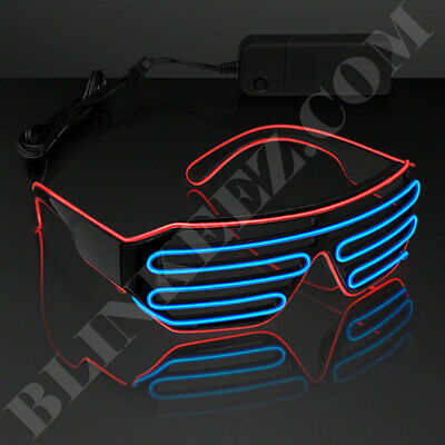 RED BLUE EL WIRE LED Glasses Light Up Shades Flashing Rave Festival Party Neon