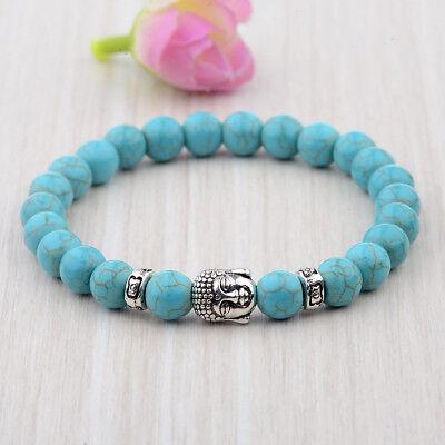Turquoise Silver Mens Bracelets - Silver Buddha Head Beaded Handmade Turquoise Rock Natural Gem Beads Bracelets