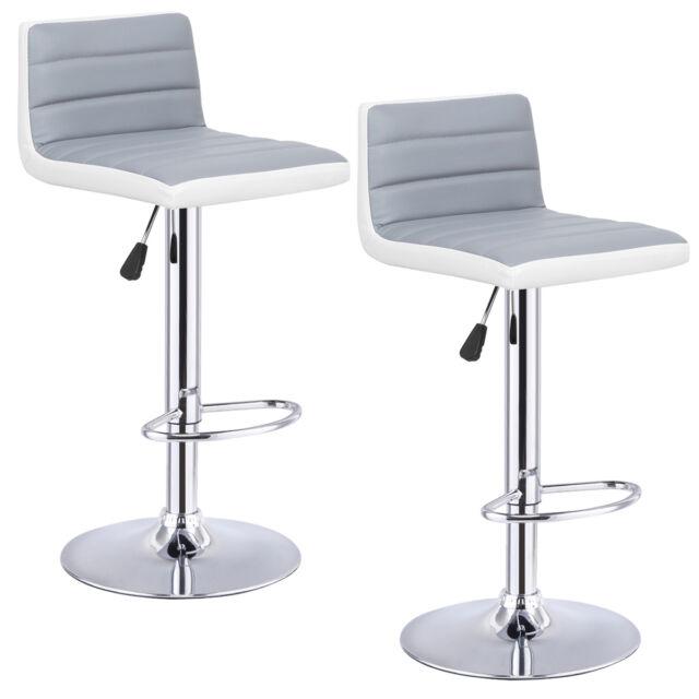 Set Of 2 Bar Stools Adjustable Barstool PU Leather Swivel Pub Chairs  Armless New