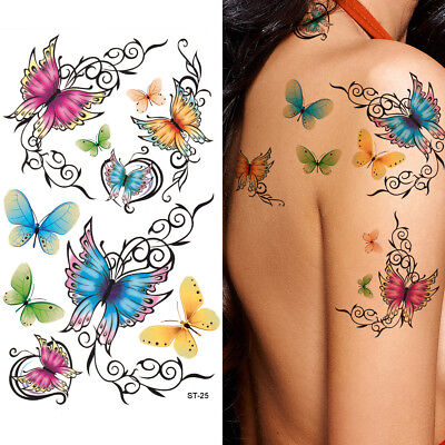 Colorful Butterfly Tattoos (Supperb Temporary Tattoos - Cute Colorful Butterfly)