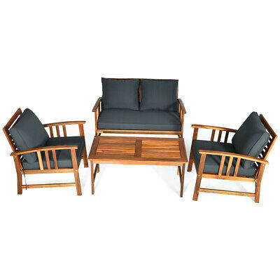 Garden Furniture - 4 pcs Wooden Patio Furniture Set Table Sofa Chair Cushioned Garden